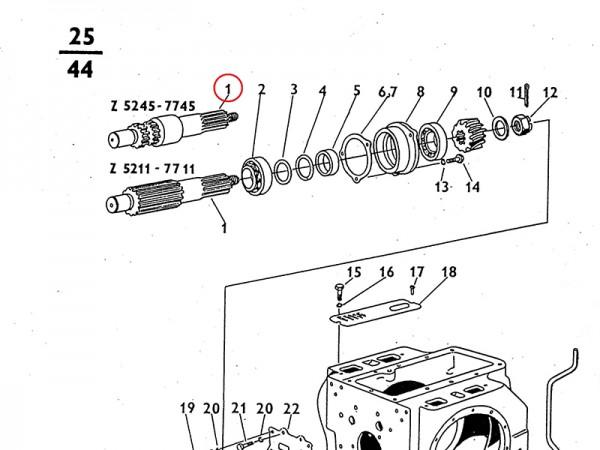 Ritzelwelle Ausgleichsgetriebe / Getriebe Zetor UR1