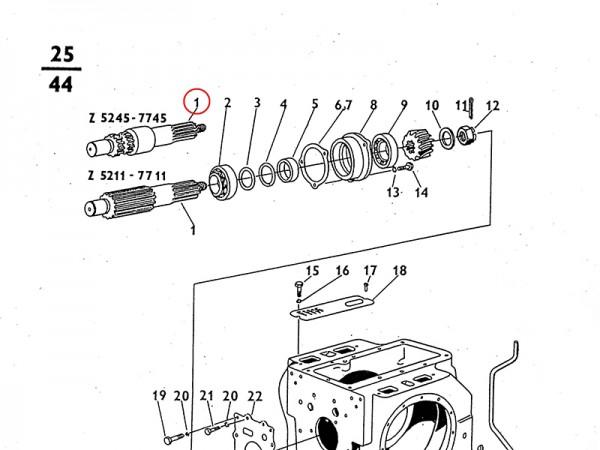 Ritzelwelle - Getriebe Zetor UR1 NEU