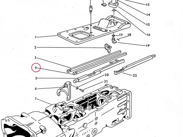 Schaltstange für Gang II und III im Getriebe Zetor UR1 NEU