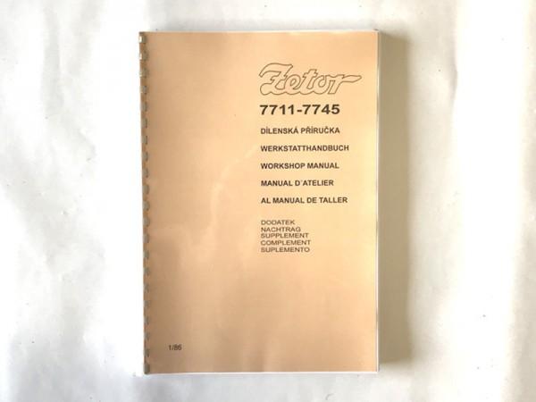 Werkstattbuch Nachtrag für Zetor 7711-7745 NEU