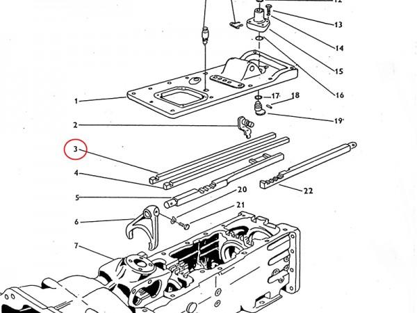 Schaltstange für Gang I und Rückwärtsgang im Getriebe Zetor UR1 NEU