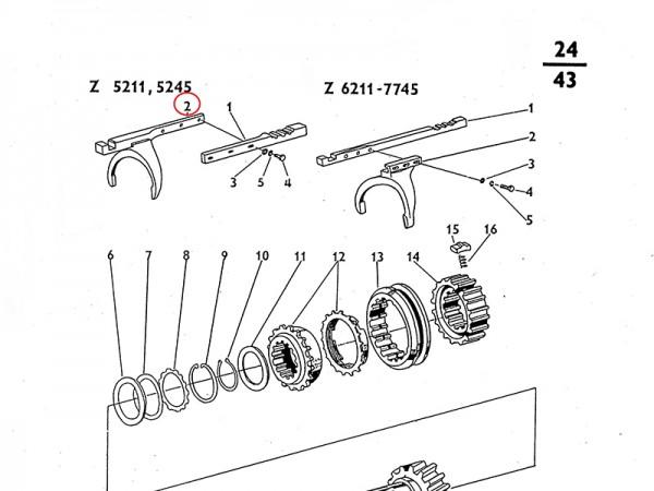Schaltgabel für Getriebe Zetor UR1