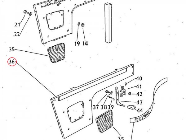 Seitenwand links 4-Zylinder Modelle Zetor UR1