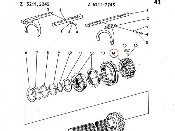 Innenteil für Synchronring im Getriebe Zetor UR1 NEU