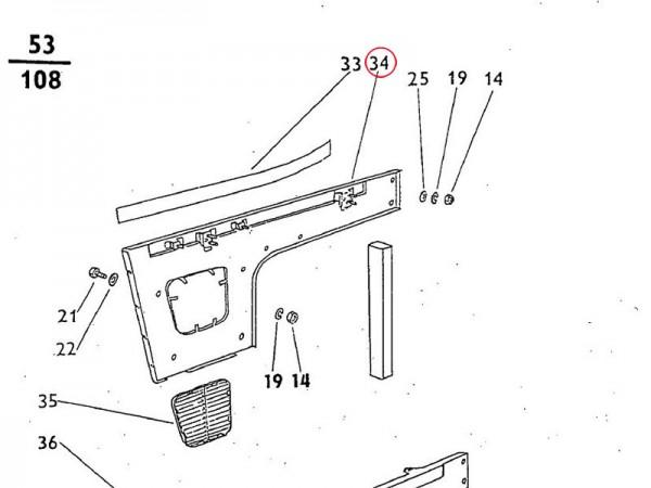 Seitenwand rechts 4-Zylinder Modelle Zetor UR1