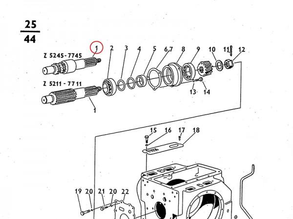 Ritzelwelle - Getriebe Zetor UR1