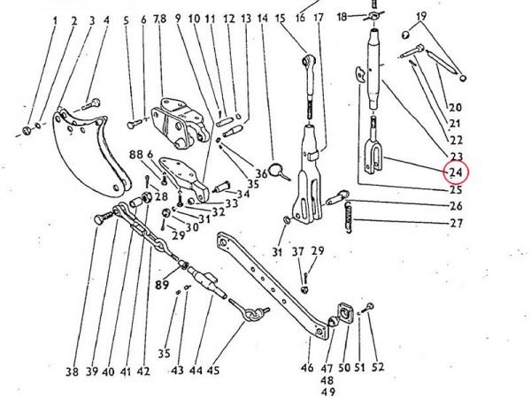 Strebe rechts, rechte Strebe Dreipunktaufhängung Zetor UR1