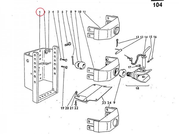 Platte, Aufhängung Anhängekupplung höhenverstellbar Zetor UR1